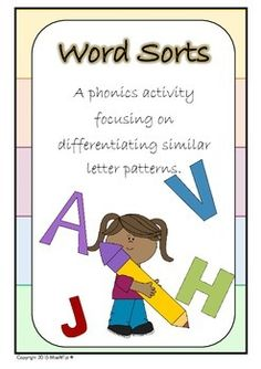 Word Sorts - A NO PREP grade 1 phonics activity focusing on differentiating letter patterns. Included in this pack is a set of 5 word mats with words containing similar vowel patterns. For longevity and practicality of this resource I suggest printing 6-8 of each coloured mat and laminating.