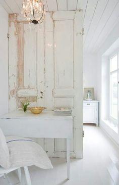 Salvaged door, white, shabby chic, chippy paint, white door, white room, french linen,