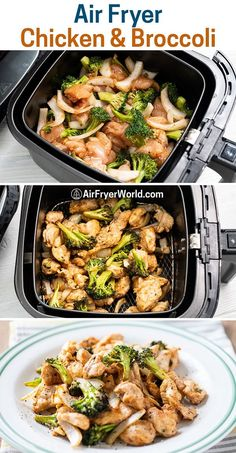 Air Fried Chicken and Broccoli LOW CARB and KETO. It's a great healthy air fryer recipe for chicken and broccoli that the whold family and kids will love