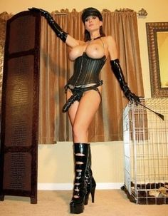 Leather mistress strapon