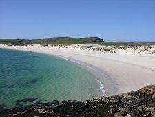 Peaceful Vatersay Bay. The most southerly inhabited island in the Western Isles, Scotland. I was here on a hot day last summer - we don't get many of them in Scotland, so I was really lucky! I cycled from Barra and it was like a scene from 'The Beach' when I cycled round a corner and caught sight of it. Beautiful.