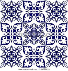 Geometric Islamic Seamless Pattern Arabesque blue and white, patchwork