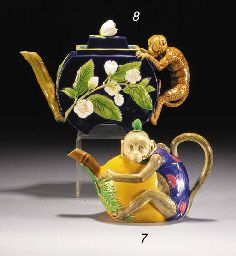 back ground monkey - draw it A George Jones majolica cobalt-blue-ground teapot and cover