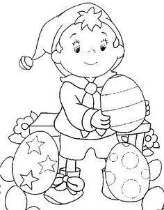 Coloring Noddy and eggs picture
