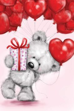 Cadeau Saint Valentin Couple, Red Balloon, Balloons, Happy Birthday Wishes, Birthday Cards, Valentine Day Love, Valentines, Teddy Bear Pictures, Blue Nose Friends