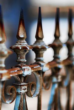 Rusty Fence at Lake Lawn Cemetery, New Orleans, Louisiana, USA ~ Photography by Antonio Pompo Bresciana