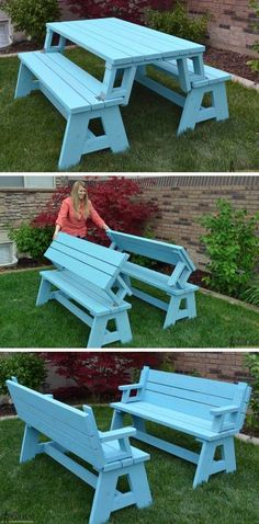 #woodworkingplans #woodworking #woodworkingprojects Not only is this picnic table great for outdoor eating, but it easily converts into two cute garden benches. The picnic table's top folds down to create the back of the bench, for a relaxing seat.