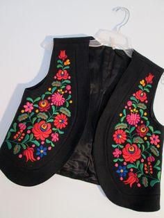 Eastern Flowers Embroidered Black Wool Crop Vest Boho Floral Hippie Gypsy Urban Grunge Hungarian Hipster Club Kid Silk Festival Wear. $89.00, via BohemianSeed on Etsy.