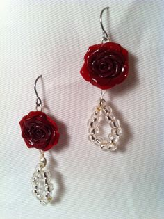 Handcrafted Old Hollywood Glamour Red Rose by VividVioletDesigns, $19.00