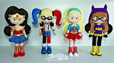 Wonder Woman Party, Felt Sheets, Dc Super Hero Girls, Felt Mobile, Pretty Dolls, Sewing Toys, Superhero Party, Felt Crafts, Plushies