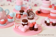Tea party set of cupcake toppers by CakesbyAngela on Etsy