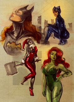 Batgirl, Catwoman, Harley Quinn and Poison Ivy.