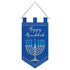 This Hanukkah Felt Banner features a menorah with the words Happy Hanukkah on the background. This blue and silver Hanukkah Banner features a hanging cord. Hanukkah Lights, Hanukkah Candles, Hanukkah Decorations, Festival Decorations, Feliz Hanukkah, Happy Hanukkah, Hannukah, Halloween Costume Shop, Halloween Costumes For Kids