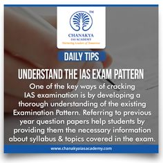 #DailyTips  #UnderstandTheIASExamPattern  #CurrentAffairs  One of the key ways of cracking IAS examination is by developing a thorough understanding of the existing Examination Pattern. Referring to previous year question papers help students by providing them the necessary information about syllabus and topics covered in the exam.  #UPSC #IasExam brought to you by #ChanakyaIasAcademy.