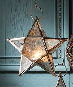 Small Morrocan Style Clear Star Lantern.