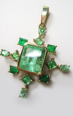 7 40 Ct Stunning Natural Emerald Pendant 14k Gold | eBay