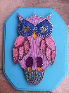 i love string art!  Owl String & Nail Art  Customizable by FaceDesigns on Etsy, $70.00