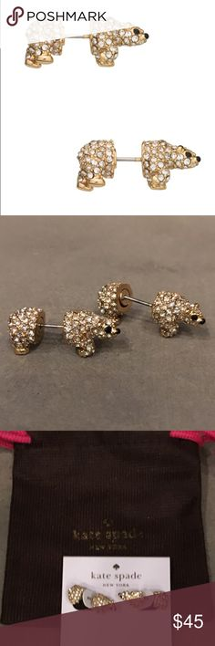 ❤️💕NEW LISTING💕❤️ Sparkling Kate Spade Earrings Kate Spade Cold Comforts Polar Bear Earrings feature clear and black crystals and are 12KT gold plated. This collection is selling out quickly. NWT. Jewelry bag is included. kate spade Jewelry Earrings