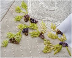I ❤ embroidery & crazy quilting . . . Fly Stitch 1- Closed Fly stitch with Colonial knots on a second block  Threads are green hand dyed silk and the Knots use Cottage Garden threads