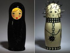 The one on the right is the offspring of a Russian nesting doll and PinHead...probably ;)