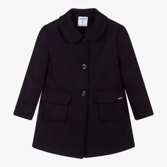 Navy blue coat for girls by Mayoral, made in a soft wool blend, with a lightweight, silky lining. It has front patch pockets and button fastenings. Blue Coats, Blue Wool, Kids Online, Wool Coat, Wool Blend, Navy Blue, Blazer, Pockets, Sweaters