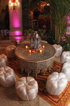 Moroccan Seating, Lantern & Painted Table