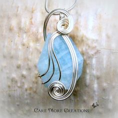 Aquamarine Wire Wrapped Pendant Necklace in Silver  by CareMoreCreations.com, $46.00