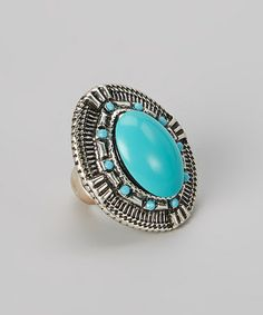 Look what I found on #zulily! Turquoise & Silver Large Oval Stretch Ring #zulilyfinds