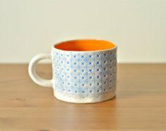 Ceramic blue and orange stoneware