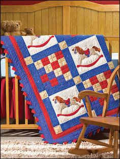 """Saddle Up - """"giddy-up, little cowboy"""" - QUILTING - """"intermediate"""" meas. 43-1/2"""" x 43-1/2"""" - really cute!"""