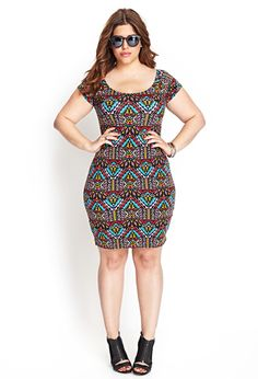 Abstract Bodycon Dress | FOREVER21 PLUS - 2000122475
