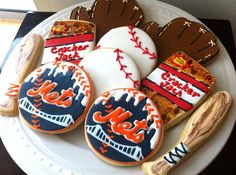 New York Mets Baseball themed Decorated Cookies by peapodscookies