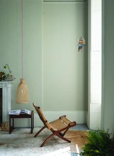 Farrow & Ball Walls: Drop Cloth, Woodwork: Shadow White, Floor: Manor House Gray.