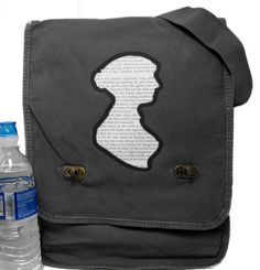 """Austen's silhouette is cut from a page of """"Pride & Prejudice"""" on this messenger bag. $32 from @Etsy shop BagChemistry."""