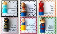 Crossing the Bugger-Dixon Line valentine peg doll crafts princess super hero