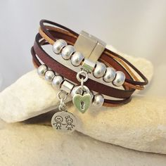 Leather multi-stranded bracelet