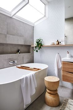 Real reno: This Melbourne overhaul is a riot of texture - The Interiors Addict - bathroom inspiration - Beautiful Bathrooms, Modern Bathroom, Small Bathroom, Neutral Bathroom, Bathroom Large Tiles, Light Grey Bathrooms, Silver Bathroom, Minimal Bathroom, Bath Tiles