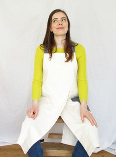 Designed and handmade, for artists & makers, the overlapped split skirt allows lots of movement, whilst ensuring each leg is perfectly covered when sitting at the wheel or work bench. Fantastically comfortable crossback design, 3 roomy pockets (2 cream, 1 blue denim stripe) White Denim, Navy And White, Blue Denim, Split Legs, Split Skirt, Cross Designs, Aprons, Blue Stripes, Work Wear