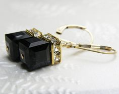 Black Cube Earrings Gold Black Onyx Swarovski Crystal by fineheart