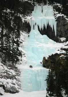 Frozen Waterfall Climbing, Lake Louise, Canada