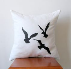 Black  Flying Seagulls Pillow Cover Hand by AnyarwotDesigns, $19.99