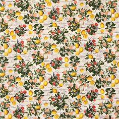 cream lemon flower bird 'Lemon Floral' Timeless Treasures  fabric 2