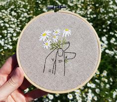 Your place to buy and sell all things handmade - Stickerei Ideen Embroidery Flowers Pattern, Simple Embroidery, Learn Embroidery, Embroidery Patterns Free, Hand Embroidery Stitches, Modern Embroidery, Embroidery Hoop Art, Hand Embroidery Designs, Cross Stitch Embroidery