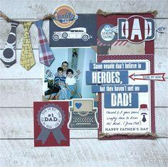 #papercraft #scrapbook #layout. Dear Ol' Dad - Hey Pop! Simple Set