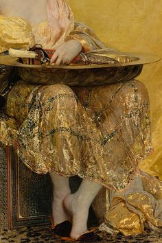 Henri Regnault (1843-1871): Salomé, 1870 (detail). The painting was a tremendous success at the Salon of 1870, but Regnault died only months later, in the Franco-Prussian War. Metropolitan Museum of Art, gift of George F. Baker (1916).