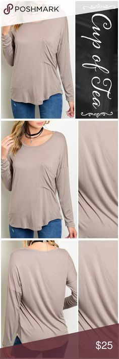 """💥20% OFF BUNDLES💥Light brown casual top Super comfy and stretchy casual long sleeve top. Made in USA 🇺🇸. 95% rayon 5% spandex. Relaxed fit. SMALL: bust 40"""" length 23"""". MEDIUM: bust 42"""" length 25"""" LARGE: bust 44"""" length 27"""". CupofTea Tops Tees - Long Sleeve"""