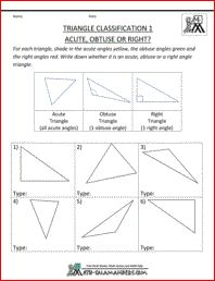 4th grade, 5th grade Math Worksheets: 4 types of triangles | Math ...