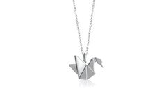 ~ Swan necklace ~ Rhodium plated sterling silver swan origami long necklace by Bowerbird Australia | $159.95