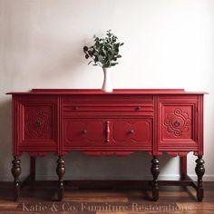 Buffets, color # refurbished Furniture Best Black Paint for Furniture Red Painted Furniture, Painted Buffet, Chalk Paint Furniture, Refurbished Furniture, Repurposed Furniture, Furniture Makeover, Vintage Furniture, Cool Furniture, Furniture Design