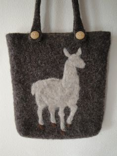 Felted Wool Purse Two Strap Shoulder Bag Lone Llama. $55.00, via Etsy.